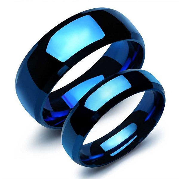 Platinum Plated Never Fading Metallic Blue Couple Rings