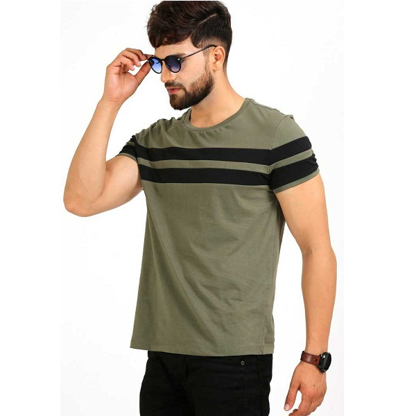 Striped Mens Round Neck Light Green Black T Shirt