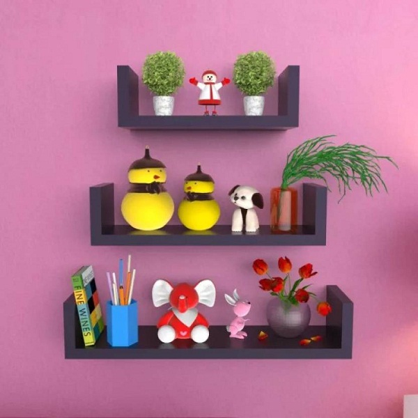 Onlineshoppee U Rack MDF Wall Shelf