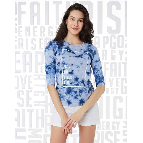 Graphic Print Womens Round Neck Blue T Shirt