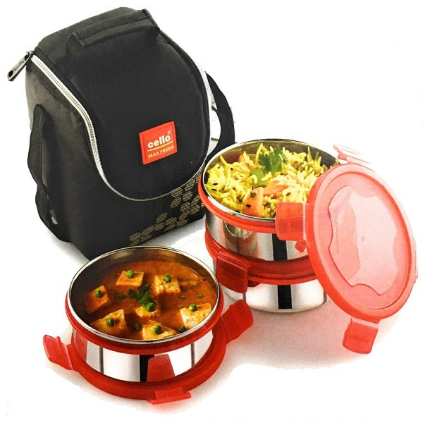 Cello Steel Click 3 Plus 3 Containers Lunch Box
