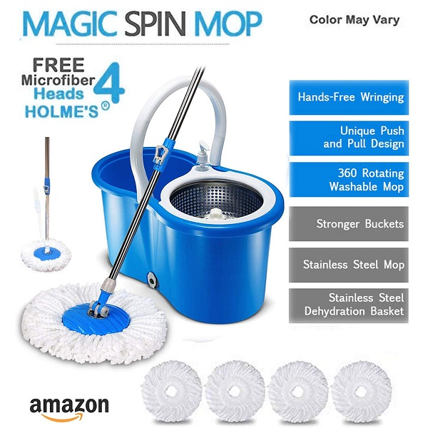 HOLMES Easy Magic Bucket Spin Mop with 4 Heads