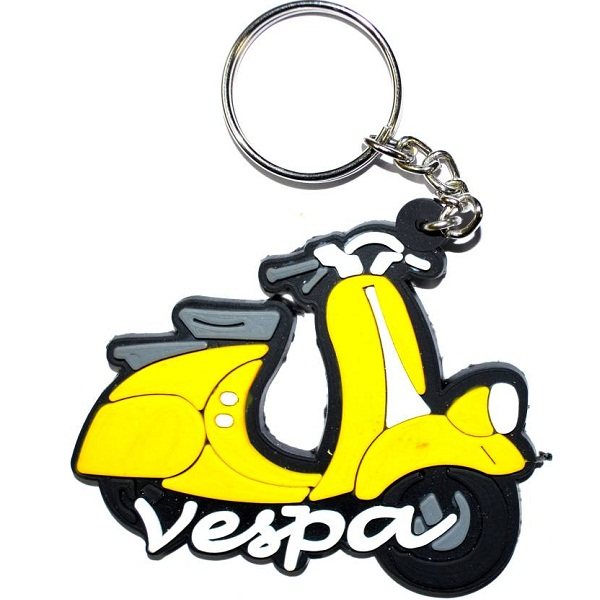 Pin to Pen Vespa Scooter Yellow Keychain Key Chain
