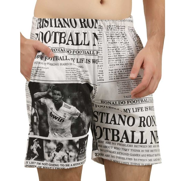 Hotfits Printed Mens White Basic Shorts
