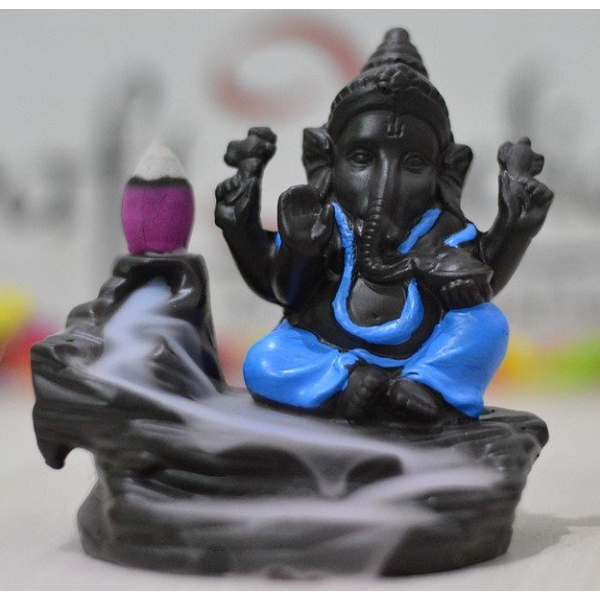 eCraftIndia Lord Blue Ganesha Smoke Backflow Cone Incense Holder