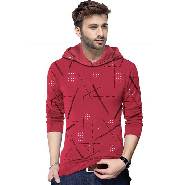 Tripr Printed Mens Hooded Red TShirt