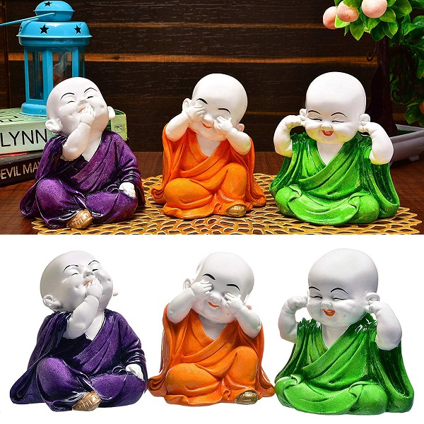 RJKART Handcrafted 3Pcs Laughing Baby Buddha Polyresin Showpiece
