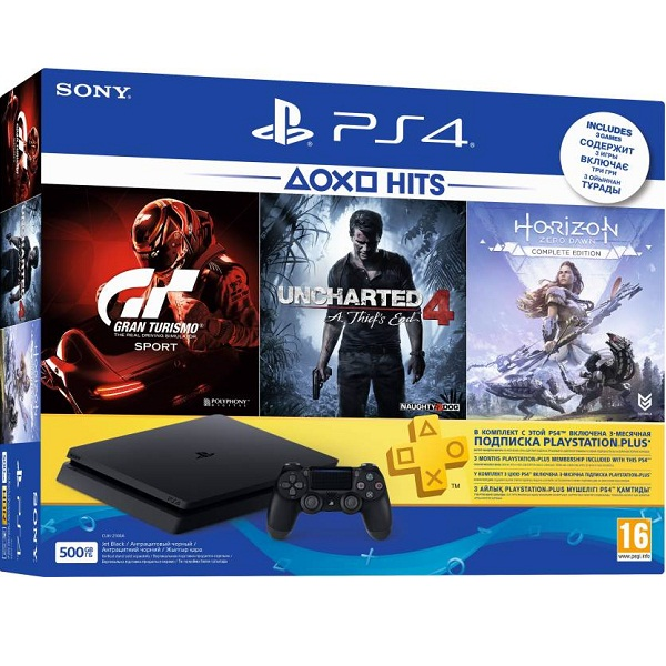 Sony PlayStation 4 Uncharted 4 Horizon Zero Dawn and Gran Turismo Sport