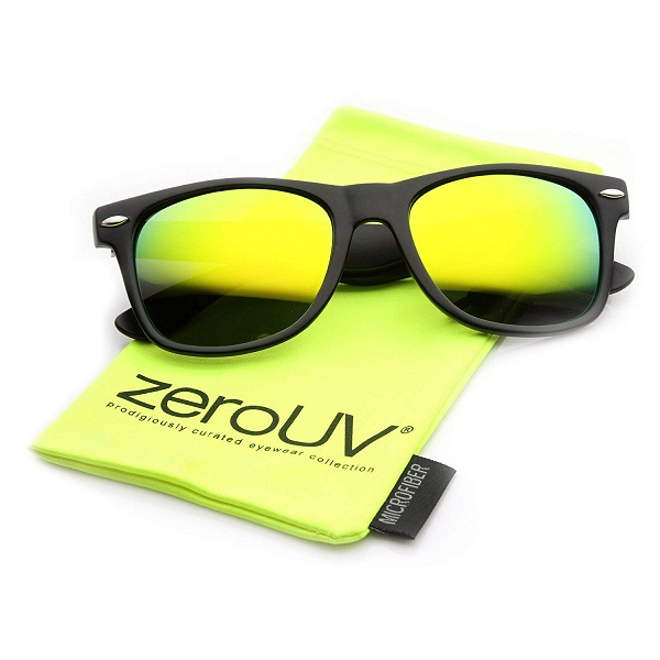 zeroUV Retro Matte Black Horned Rim Flash Colored Lens Sunglasses