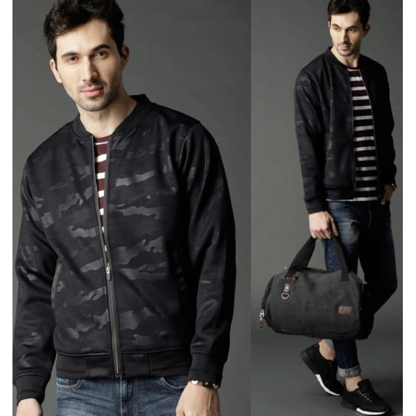 Roadster Navy Blue Printed Bomber Jacket