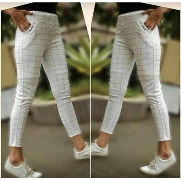 Seller Imported White Color Checks Stretchable Pants