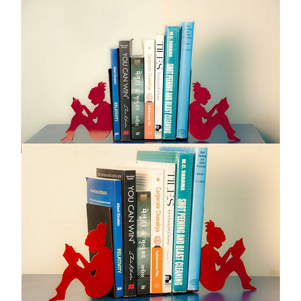 Matchless Metal Girl Reading a Book bookends by Mint Wood