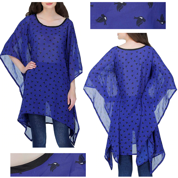 GraceDiva Blue Printed Georgette Kaftan