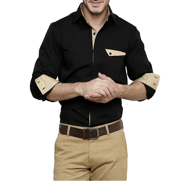 DAZZIO Black Cotton Casual Shirt