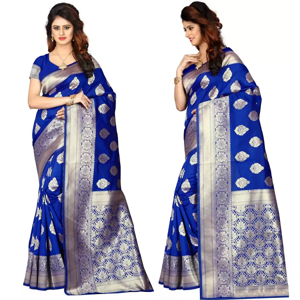 Shoppershopee Self Design Banarasi Poly Silk Saree