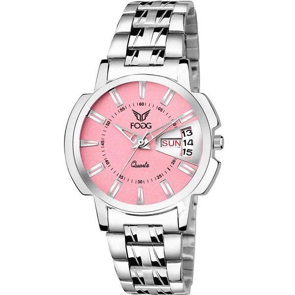 Fogg Pink Day and Date Analog Watch