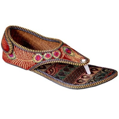 Ridhi Sidhi Gorgeous Hand Embroidered Red Colored Flats