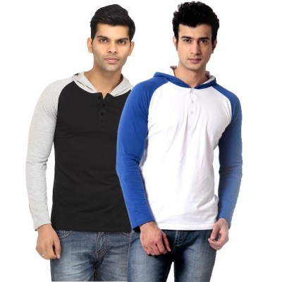 Leana Solid Mens Hooded T Shirt Pack of 2