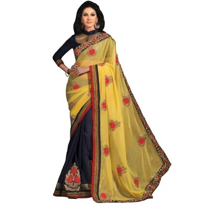 Embriodered Fashion Chiffon Sari