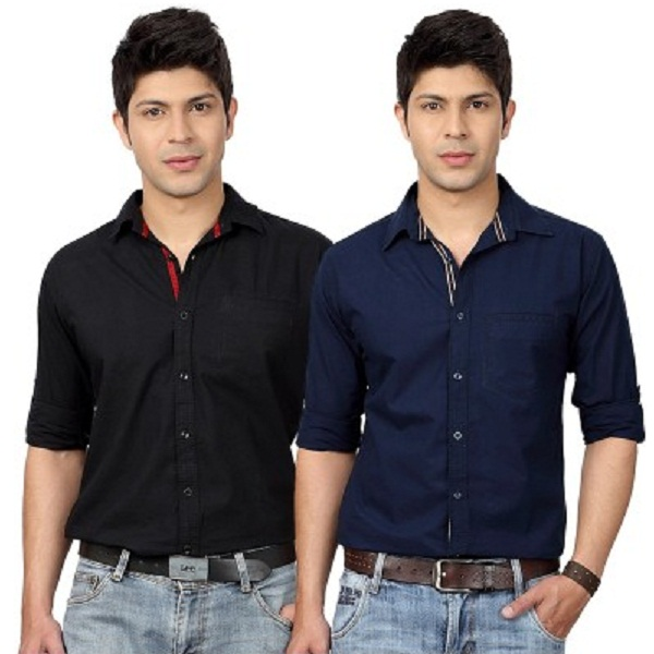 Top Notch Mens Solid Casual Shirt Pack Of 2