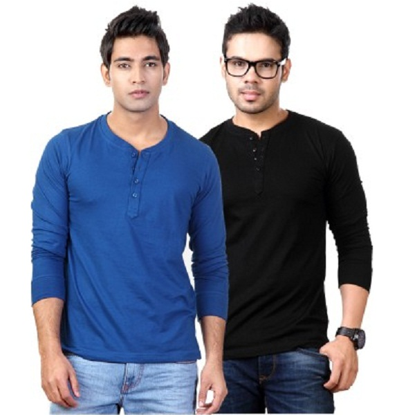 Top Notch Solid Mens Henley T Shirt Pack of 2