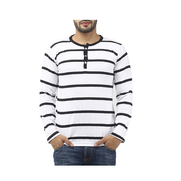Leana Mens Button Front Cotton T Shirt