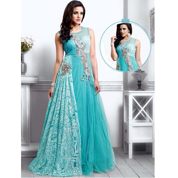 UFS Womens Light Blue Net Semi Stitched Anarkali Dress Salwar Suit Gown