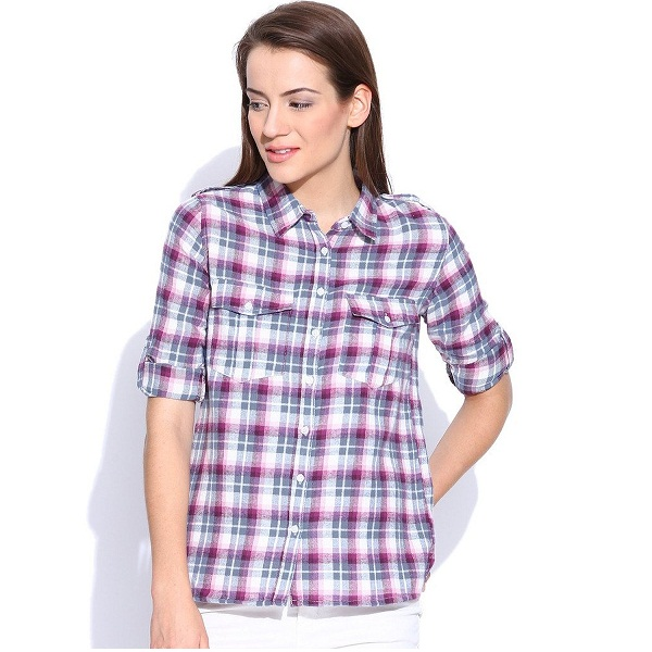 Silly People Womens Pink Grey Checkered Shirt