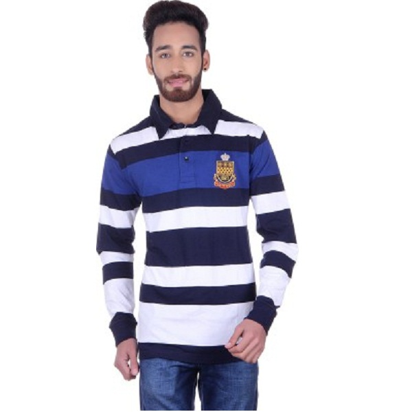Austin Wood Striped Mens Polo Neck T Shirt