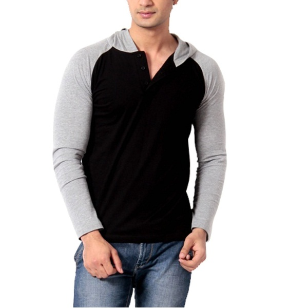 Leana Mens Hooded Cotton T Shirt