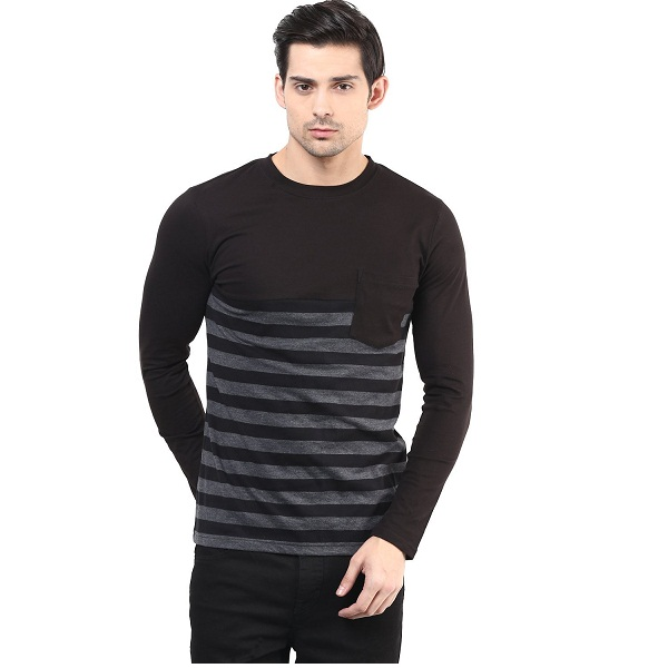 Hypernation Black and Grey Color Stripped T Shirt