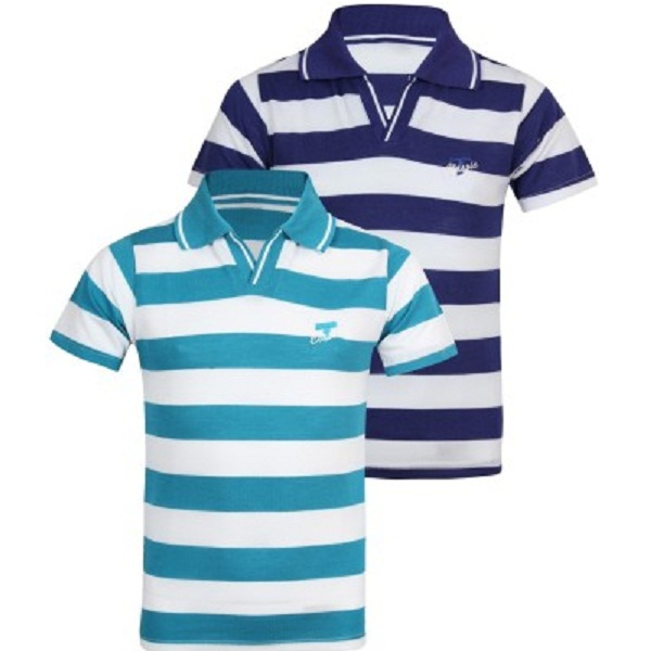 Jazzup Striped Boys Polo Neck TShirt Pack of 2