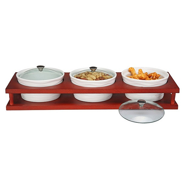 3piece Serving Bowl Set with a Wooden Base