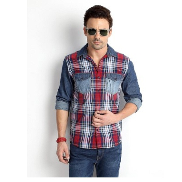 Rodid Mens Checkered Casual Denim Shirt