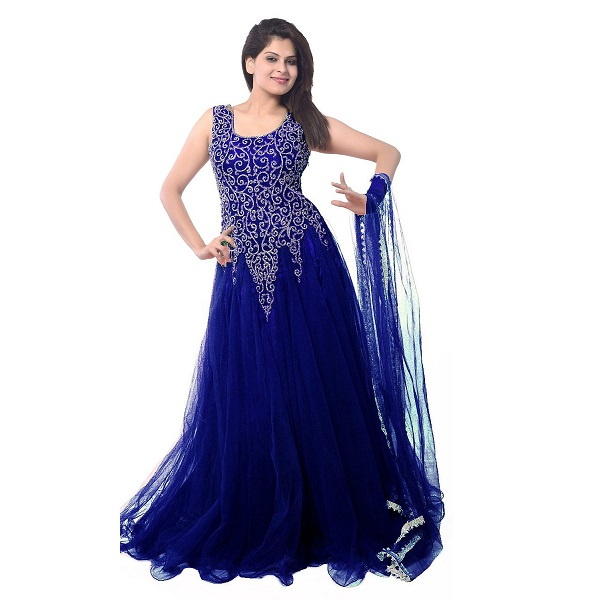Clickedia Women Soft Net Navy Blue Embroidered Gown