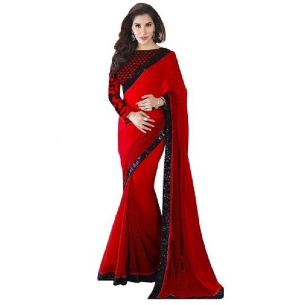 Glory Sarees Solid Bollywood Georgette Sari