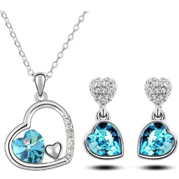 Crunchy Fashion Valentine Hearts Alloy Crystal Jewel Set