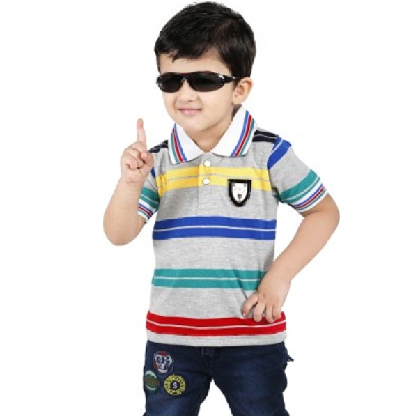 Yellow Dots Striped Baby Boys Flap Collar Neck TShirt