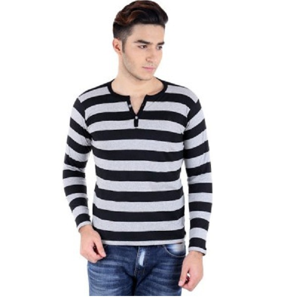 Bigidea Striped Mens Henley TShirt