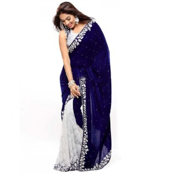 Portpanther Embriodered Bollywood Handloom Velvet Sari