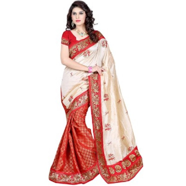 Alberts Embriodered Assam Silk Silk Sari