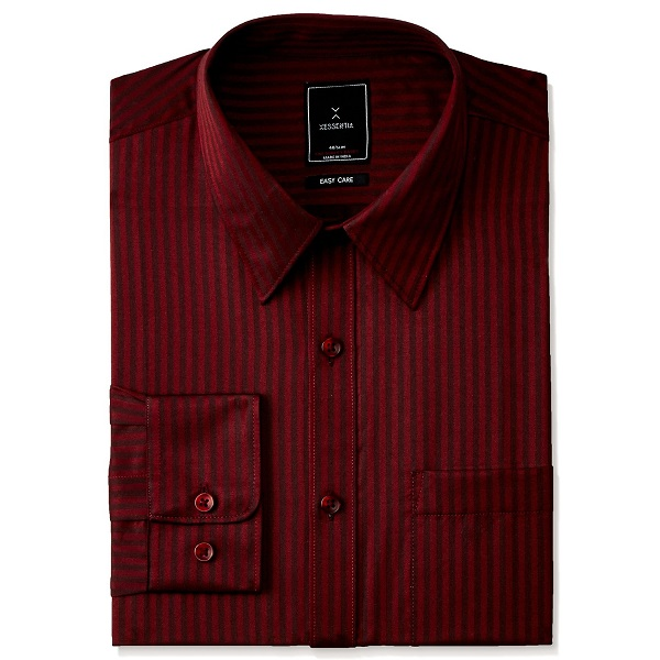 XESSENTIA Mens Evening Dobby Striped Shirt in Slim Fit