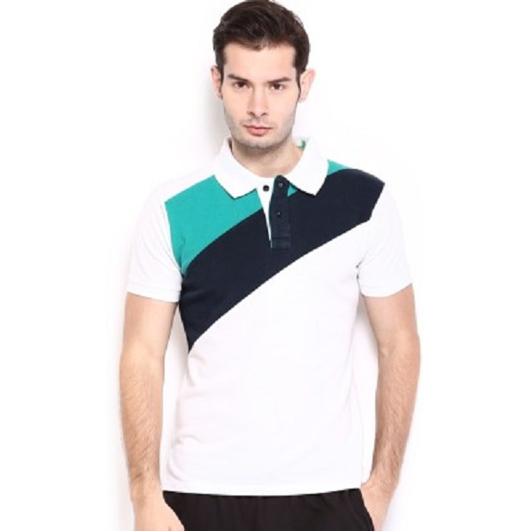 HRX Striped Mens Polo Neck T Shirt