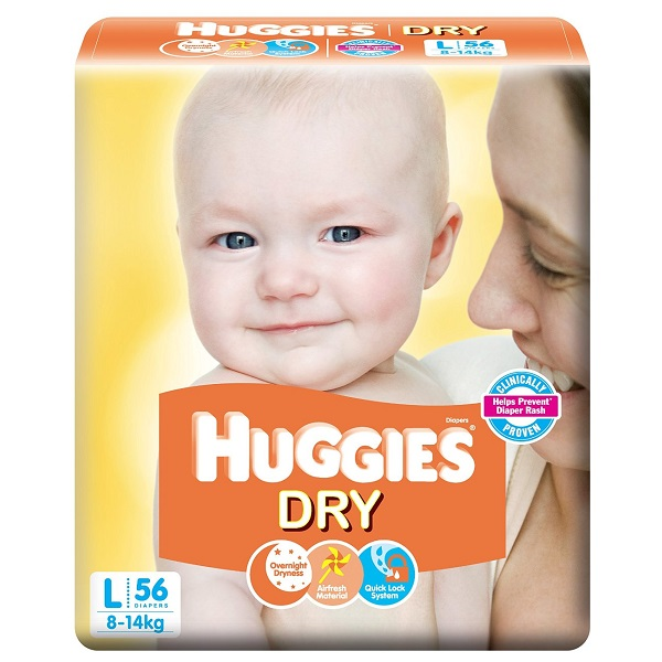 Huggies Dry Diapers Large Size 56 Count