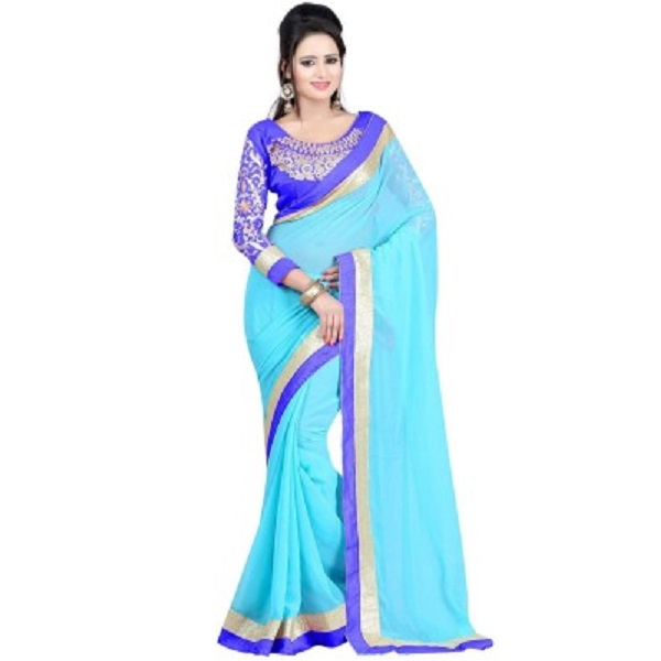onlinefayda Embriodered Daily Wear Chiffon Sari