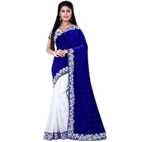 informationworlds Self Design Bollywood Velvet Sari