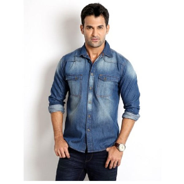 Rodid Mens Solid Casual Denim Shirt