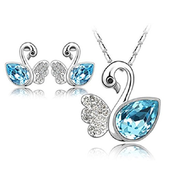 Habors 18K White Gold Plated Ocean Blue Angel Wing Swan Austrian Crystal Pendant Set