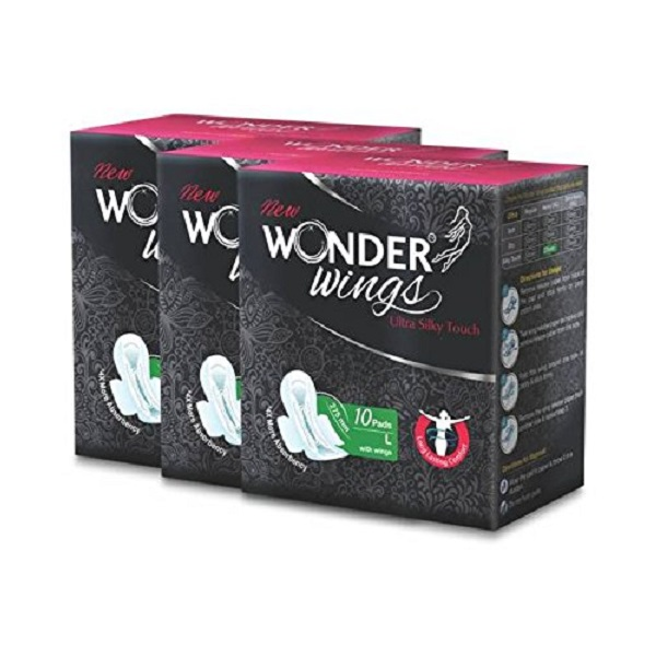 Wonder Wings Ultra Silky Touch L Sanitary Napkins combo of 3