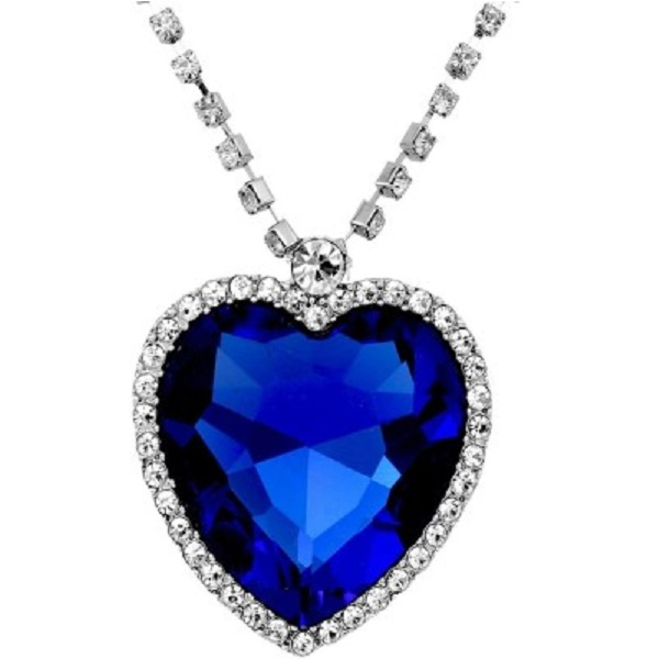 Shining Diva Titanic Inspired Blue Sapphire Heart White Gold Crystal Pendant